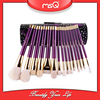 MSQ 15pcs Purple Wooden Handle Brushes for Make Up