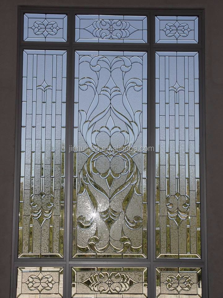 Stained glass and bevel glass bathroom window panel