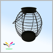 Small Metal Hanging round Lantern Candle Holder for Garden or Outdoor