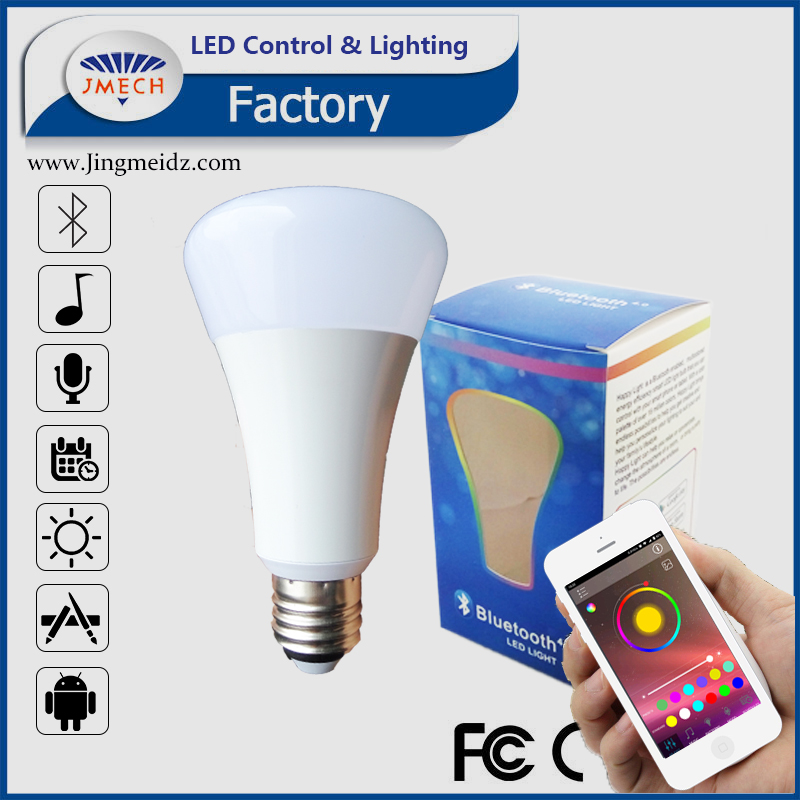 Shenzhen led smart bulb E27 B22 RGBW play music, APP controlled,Bluebooth Smart Bulb
