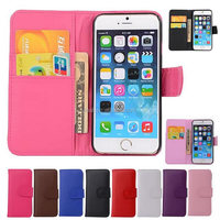 China Supplier Wallet PU Leather Cover Case with Card Slot for iPhone 6&6S Plus