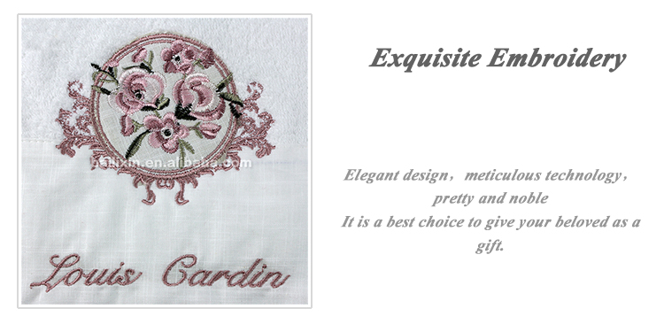 100% Cotton luxury embroidery Bath Towels with lace high quality