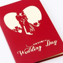 English wedding 3d invitation card laser cut wedding invitations