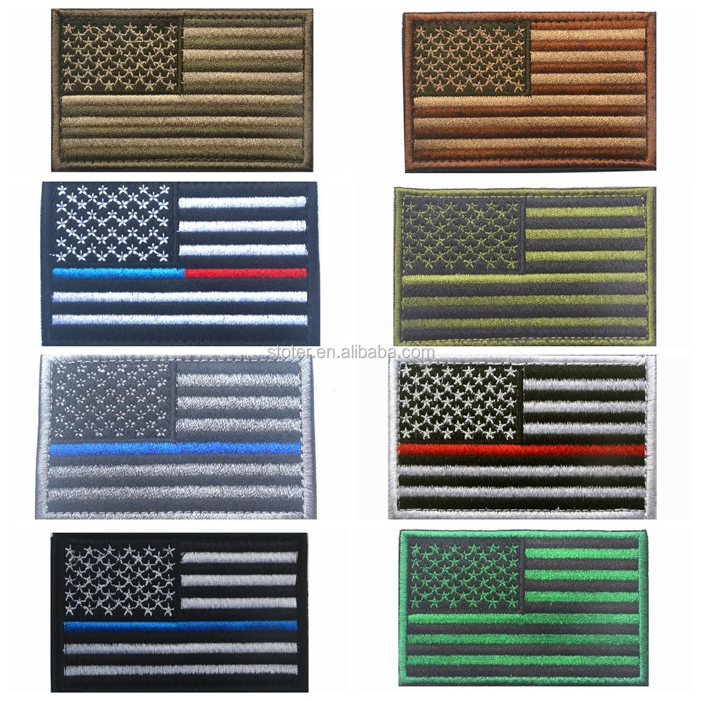 High quality custom embroidery patches Thin blue line and USA police embroidery patch