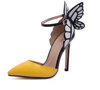 S11175A Wholesale 2015 elegant lady shoe special design butterfly high heel soft pointed women shoes