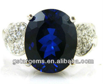 2013 Hot Item 925 Sterling Silver Created Blue Sapphire Ring Gemstone Jewelry