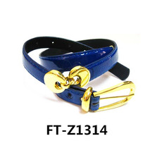 Popular Navy PU belt-Paint Leather Belt with Gold Buckle FT-Z1314