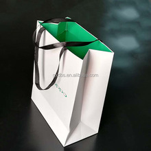 Green White with silk handle Luxury mobile packing custom printing logo shopping pack paper bag