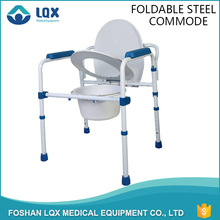 Wholesale safety blue or white or others colors portable foldable steel bathroom commode