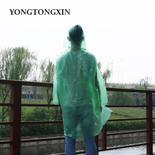 Good quality breathable bright color LDPE clean ladies raincoat in a bag