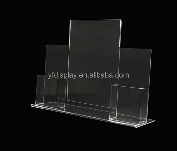 Clear table stand acrylic menu display,magazine holder,book rack