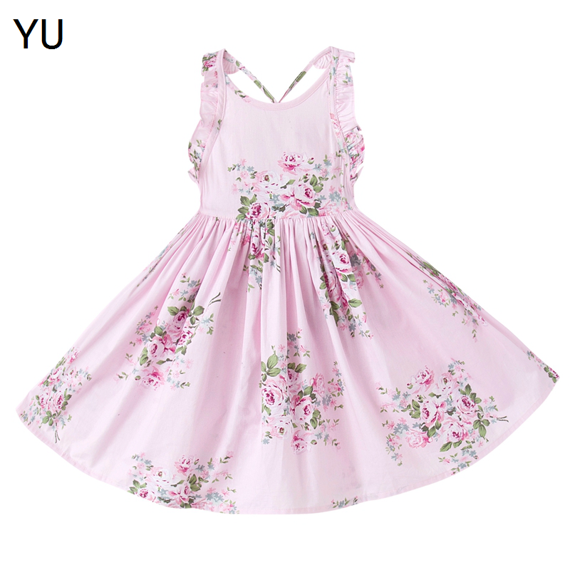 YU Cotton Vintage Floral Girls Dress backless Dress For Party