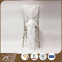 New design white elegant wedding chiffon bamboo chair cover sash decorations