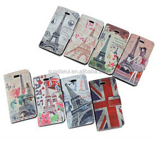 Retro UK Flag Eiffel Tower Leather Wallet Stand Flip Case for iPhone 5S 5