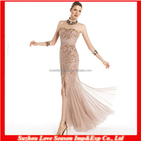 HC4197 The Whole Sale Sleeveless Champagne Open Leg Front Gold Sequins Beads Patterns Top Mermaid Tull Peplum Cocktail Dresses