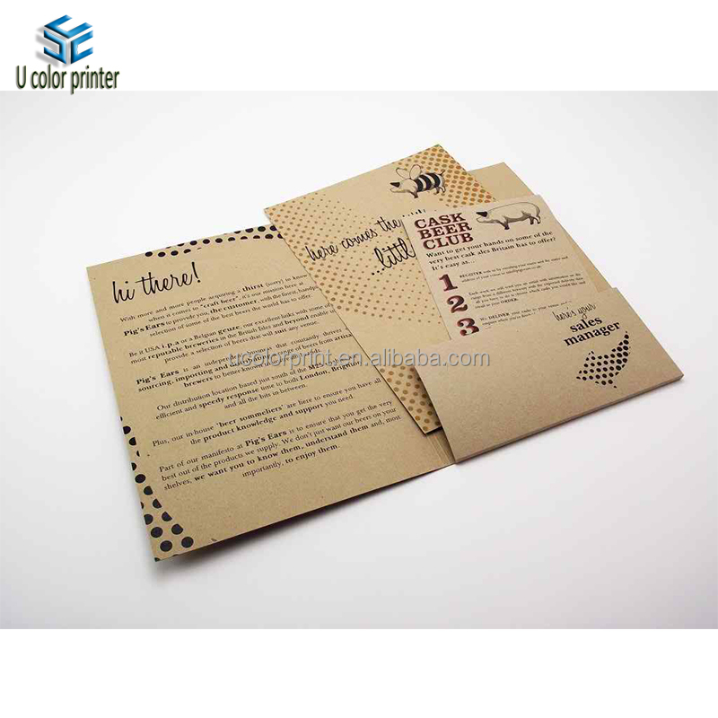 Hot Sale Kraft Paper Restaurant Bill Folder for Menu