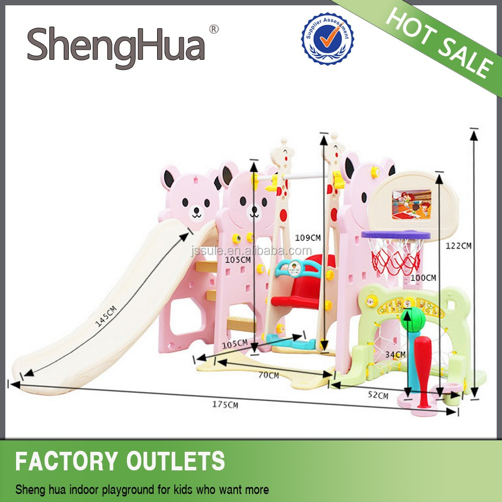 Good Price lovely Indoor Playground Equipment Small plastic slides and swing set for kids