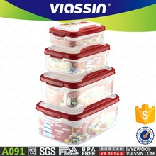 A091 new microwaveable food grade 4pcs plastic food container set shantou viassin