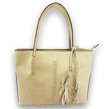 PU Leather Tote Bag with tassels charm