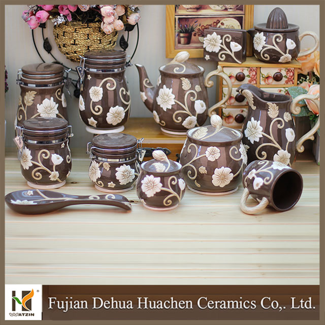 2015 high quality flower decorative ceramic tableware set