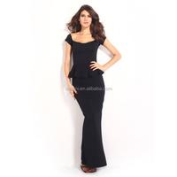 DMlqk286--- 2017 women fashion bandeau ruffle short sleeve long club dresses