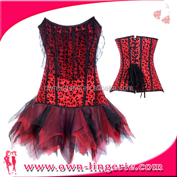 red ladies corsets and petticoats