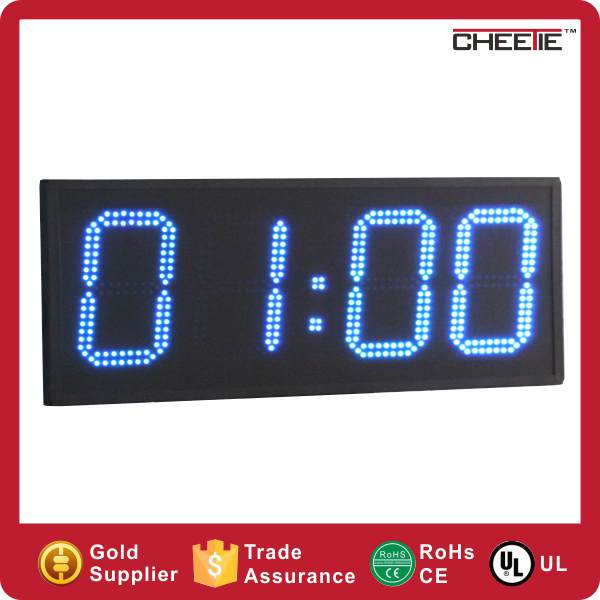 Large 4 Digit 6 Inch Sports Swimming Digital Led Clock Time Outdoor in Wall Clocks