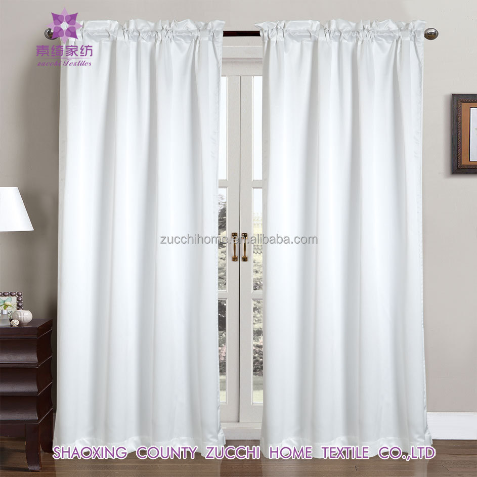 Elegant Solid Rod Pocket Window Drapery Hot Sell Satin Curtain for Dinning Room Cafe Hotel