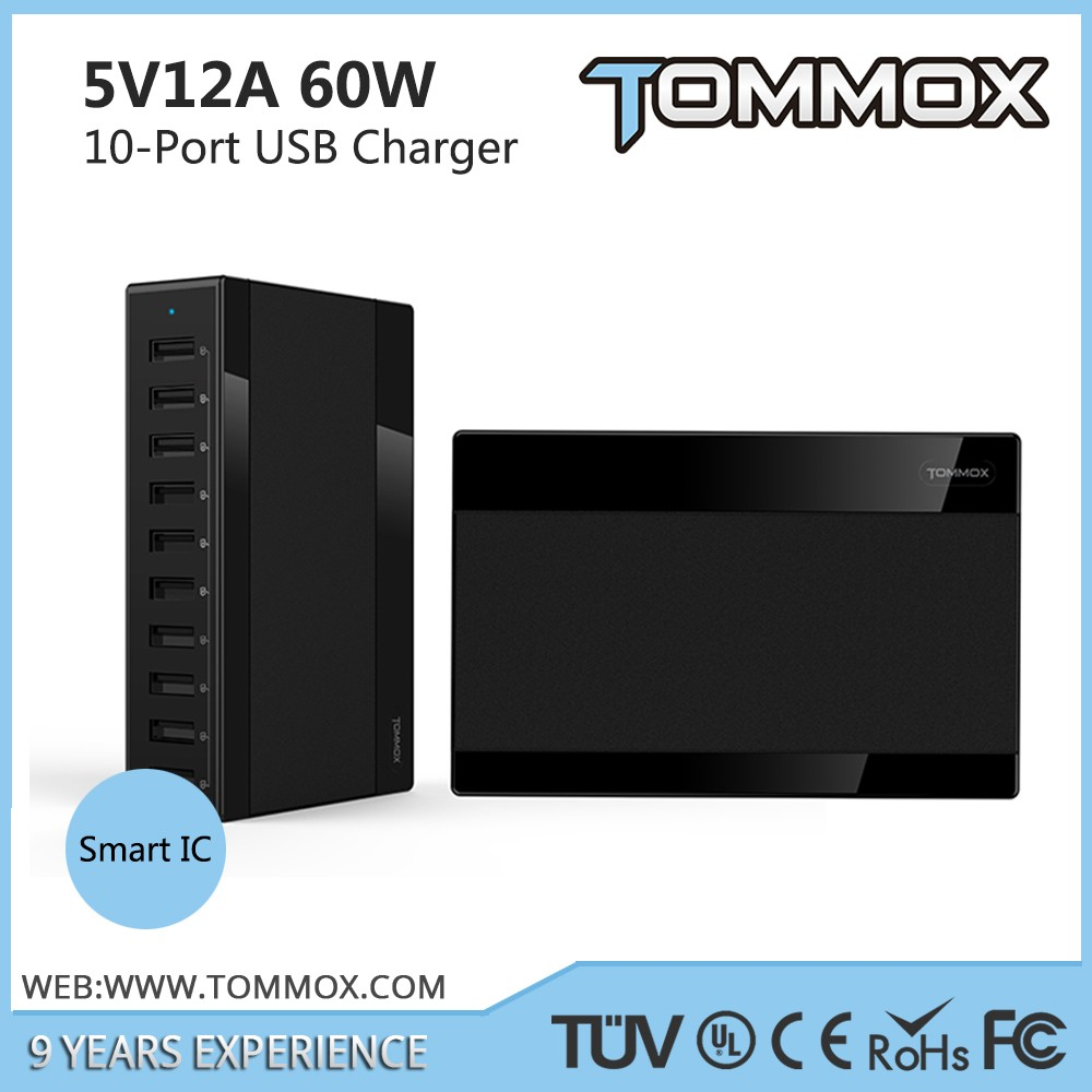 Manufacturer 60W 5V 12A charger with 10 port USB Charger