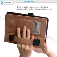Classic style stand function with hand strap wallet leather for ipad mini case