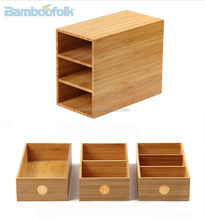 Bamboo office storage box with drawer