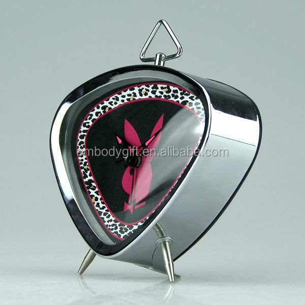 Retro digital table top decorative triangle-shaped metal alarm clock