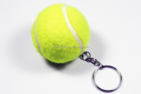 Hot sale mini tennis ball keychain keyring yellow tennis ball key ring