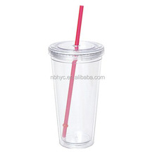 double walled acrylic glass with straw, insulated acrylic tumbler with plastic straw, 16oz acrylic tumbler with DIY insert