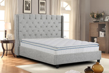 modern Upholstered Button Tufted Platform Bed