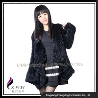 CX-G-A-168 2015 Fashion Black Knitted Rabbit Fur Jacket
