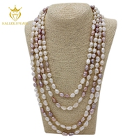 Wholesale chinese 9-10 mm multi layer long natural freshwater baroque pearl necklace