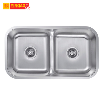 Custom stainless steel kitchen wash sink deep double bowl kitchen sink
