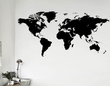 60x90cm free shipping transparent world map wall sticker