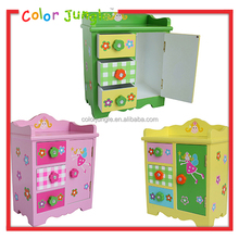 Kids mini wood storage box with 3 drawers,toy wood Storage drawers cabinet girls room decoration