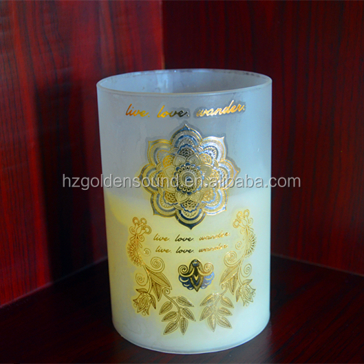 2017 wholesale religious candles with glass container for home decoration