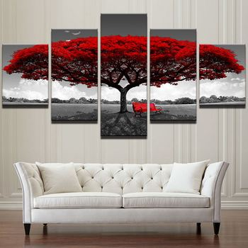 Manufacture Price Red tree 5 Piece HD Printed Canvas Modern landscape Wall Art Painting Pictures for Home Decor
