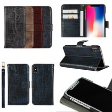 Free Samples Crocodile Leather Wallet Phone Case Stand Flip Cover For iPhone X Case With Card Holders