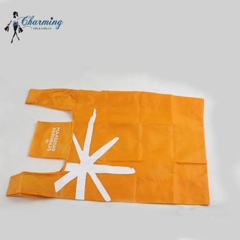 High end special design orange packaging handled polyester shopping bag