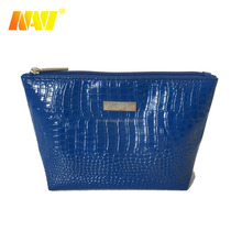 2018 top sale blue snake PU leather cosmetic bag travel make up bag