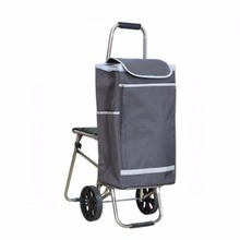 Factory Price Foldable Ladies 600D Polyester Trolley Travel Bag With Chair