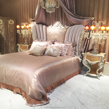 Luxury Royal furniture new classical style design bedroom sets with gold and white