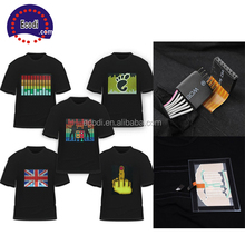 Cheap sound activated programmable led t-shirt/el t shirt with battery pack