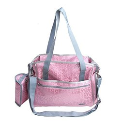 Pink Nylon Mummy Bag Machine Washable Tote Baby Diaper Bags DB0420