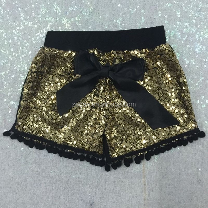 Hot sell sequin shorts wholesale girls boy removing clothes of girl image